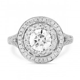 CLUSTER HALO SPLIT SHANK DIAMOND RING, 1.00 ct, H, SI1, GIA