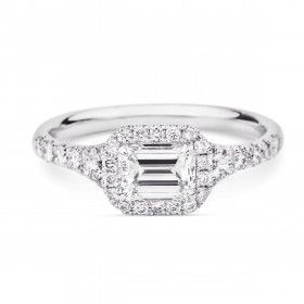 EMERALD CUT DAIMOND HALO PAVE DAIMOND BAND, 0.74 ct, H, VS2