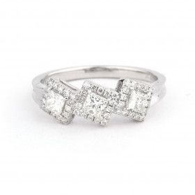 White Diamond Ring, 0.45 Ct. (0.60 Ct. TW), Princess shape, EG_Lab Certified, J5826063838