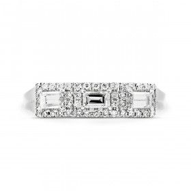 White Diamond Ring, 0.39 Ct. (0.56 Ct. TW), Baguette shape, EG_Lab Certified, J5826062938