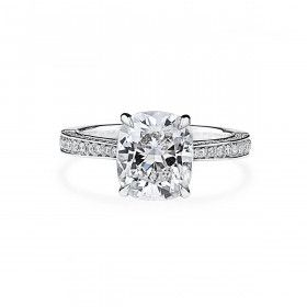 White Diamond Ring, 3.05 Ct. (4.50 Ct. TW), Cushion shape, GIA Certified, 7326383091