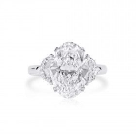 White Diamond Ring, 5.01 Ct. (5.85 Ct. TW), Oval shape, GIA Certified, 6213485392