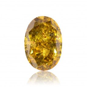 0.74 Carat, Fancy Deep Brownish Greenish Yellow Diamond, Oval shape, GIA Certified, 6157492384
