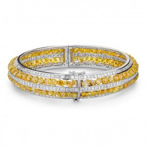 Fancy Vivid Yellow Diamond Bracelet, 16.44 Ct. (26.39 Ct. TW), Mix shape, EG_Lab Certified, J5826081333