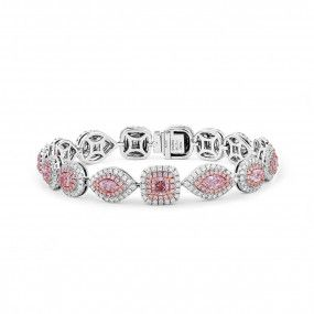 Very Light Pink Diamond Bracelet, 4.39 Ct. (8.56 Ct. TW), Marquise shape, GIA Certified, JCBF05418634