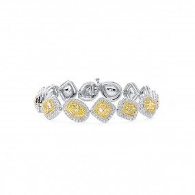 Fancy Light Yellow Diamond Bracelet, 11.63 Ct. (15.52 Ct. TW), Mix shape, GIA Certified, JCBF05454154