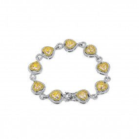 Fancy Yellow Diamond Bracelet, 9.04 Ct. (12.29 Ct. TW), Heart shape