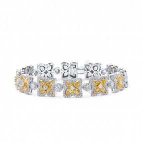 Fancy Yellow Diamond Bracelet, 9.40 Ct. (13.33 Ct. TW), Pear shape