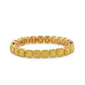 Fancy Yellow Diamond Bracelet, 14.27 Ct. (19.39 Ct. TW), Radiant shape