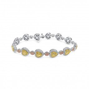 Fancy Yellow Diamond Bracelet, 5.85 Ct. (9.30 Ct. TW), Heart shape