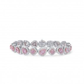 Light Pink Diamond Bracelet, 3.73 Ct. (6.16 Ct. TW), Pear shape, GIA Certified, JCBF05488878