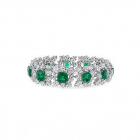 Natural Vivid Green Emerald Bracelet, 13.34 Ct. (31.74 Ct. TW), GRS Certified, JCBG05484828, Unheated