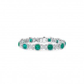 Natural Green Emerald Bracelet, 11.27 Ct. (14.90 Ct. TW)