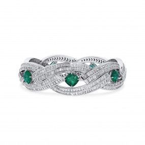 Natural Vivid Green Colombia Emerald Bracelet, 7.94 Ct. (26.88 Ct. TW), GRS Certified, JCBG05516979