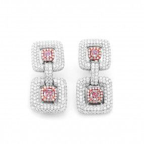Very Light Pink Diamond Earrings, 1.14 Ct. (5.52 Ct. TW), Radiant shape, GIA Certified, JCEF05414688