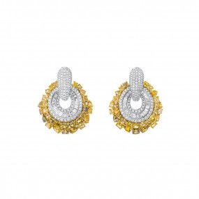 Fancy Vivid Orangy Yellow Diamond Earrings, 13.27 Ct. (17.98 Ct. TW), Mix shape, EG_Lab Certified, J5926220026