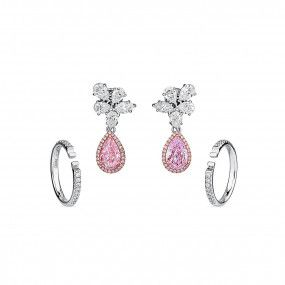 Light Pink Diamond Earrings, 2.03 Ct. (8.15 Ct. TW), Pear shape, GIA Certified, JCRF05457963