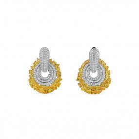 Fancy Vivid Yellow Diamond Earrings, 11.05 Ct. (15.01 Ct. TW), Mix shape, EG_Lab Certified, J5926378242