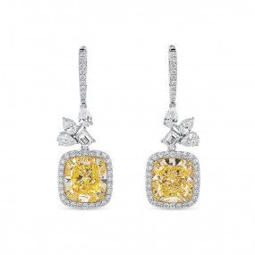 Light Yellow (W-X) Diamond Earrings, 10.73 Ct. (12.88 Ct. TW), Cushion shape, GIA Certified, JCEF05478560