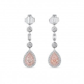 Very Light Pink Diamond Earrings, 1.31 Ct. (2.89 Ct. TW), Pear shape, GIA Certified, JCEF05479388