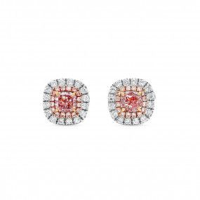 Fancy Light Pink Diamond Earrings, 0.36 Ct. (0.58 Ct. TW), Cushion shape, GIA Certified, JCEF05481620