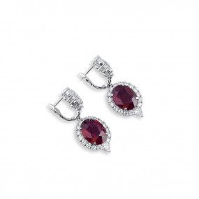 Natural Red Rubellite Earrings, 9.64 Ct. (13.49 Ct. TW), IGL Certified, J37923018IL, Unheated