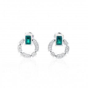 Natural Green Emerald Earrings, 1.34 Ct. (1.72 Ct. TW)