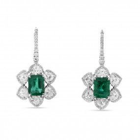Natural Vivid Green Emerald Earrings, 8.86 Ct. (16.32 Ct. TW), GIA Certified, JCEG05420355, Unheated