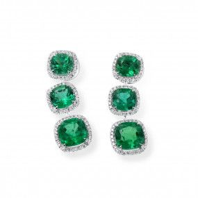Natural Green Emerald Earrings, 11.42 Carat, IGL Certified, J37915642IL, Unheated