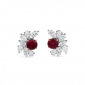 Natural Vivid Red Burma Ruby Earrings, 4.44 Ct. (8.88 Ct. TW), GRS Certified, JCEG05460173, Unheated