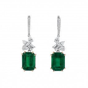 Natural Vivid Green Colombia Emerald Earrings, 11.27 Ct. (12.82 Ct. TW), GIA Certified, JCEG05464150