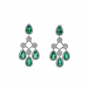 Natural Green Emerald Earrings, 12.50 Ct. (16.44 Ct. TW), Unheated