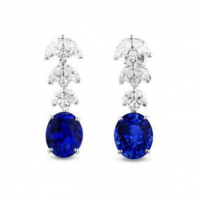 Natural Vivid Blue Sapphire Earrings, 11.77 Carat, GRS Certified, JCEG05469170, Unheated