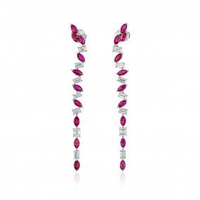 Natural Red Ruby Earrings, 3.41 Ct. (5.34 Ct. TW), Unheated