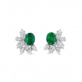Natural Green Emerald Earrings, 1.78 Ct. (3.50 Ct. TW)