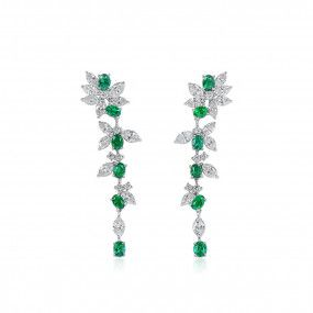 Natural Green Emerald Earrings, 1.48 Ct. (4.04 Ct. TW)