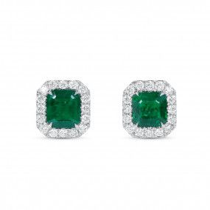 Natural Vivid Green Emerald Earrings, 1.30 Ct. (1.60 Ct. TW)