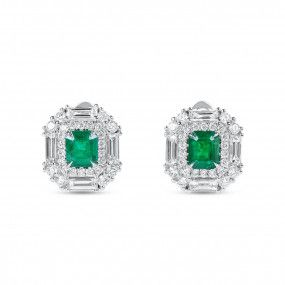 Natural Green Emerald Earrings, 1.13 Ct. (2.29 Ct. TW)