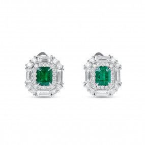 Natural Green Emerald Earrings, 1.15 Ct. (2.19 Ct. TW)