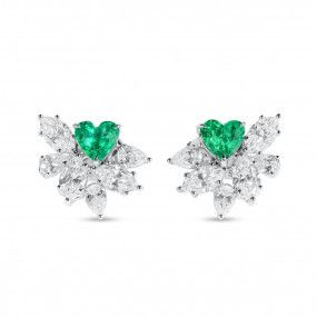 Natural Green Emerald Earrings, 0.88 Ct. (2.54 Ct. TW)