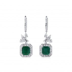 Natural Vivid Green Colombia Emerald Earrings, 4.78 Ct. (8.19 Ct. TW), GRS Certified, JCEG05515905