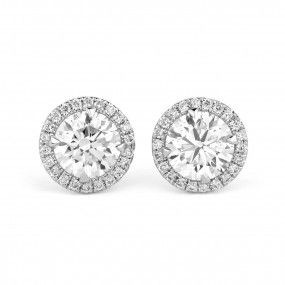 White Diamond Earrings, 1.45 Ct. (1.58 Ct. TW), Round shape
