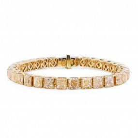 Fancy Intense Yellow Diamond Bracelet, 32.04 Carat, Radiant shape, EG_Lab Certified, J5826294036