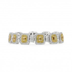 Fancy Yellow Diamond Bracelet, 5.42 Ct. (12.65 Ct. TW), Emerald shape