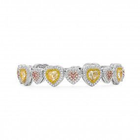 Fancy Yellow Diamond Bracelet, 7.22 Ct. (11.38 Ct. TW), Heart shape