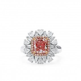 Fancy Orangy Pink Diamond Ring, 1.50 Ct. (2.79 Ct. TW), Radiant shape, GIA Certified, 2191010771