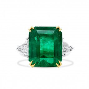 Natural Green Colombia Emerald Ring, 14.01 Ct. (15.43 Ct. TW), Gubelin Certified, 18012047