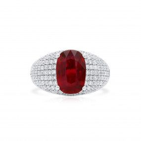 Natural Vivid Red Mozambique Ruby Ring, 3.02 Ct. (3.89 Ct. TW), GRS Certified, GRS2018-051910, Unheated