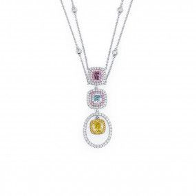 Fancy Intense Greenish Yellow Diamond Necklace, 2.13 Ct. (3.12 Ct. TW), Cushion shape, GIA Certified, JCNF05429822