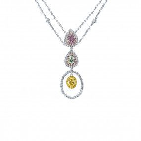 Fancy Light Purplish Pink Diamond Necklace, 1.23 Ct. (2.18 Ct. TW), Pear shape, GIA Certified, JCNF05430165